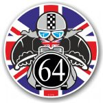 Year Dated 1964 Cafe Racer Roundel Design & Union Jack Flag Vinyl Car sticker decal 90x90mm